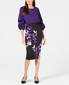 Alfani Gathered Balloon-Sleeve Top & Printed Scuba Skirt, Created for Macy's