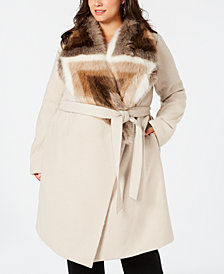 Alfani Plus Size Faux-Fur Collar Belted Coat, Created for Macy's
