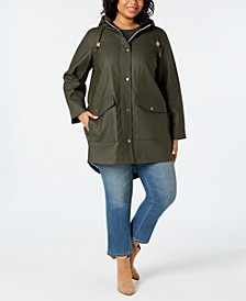 Trendy Plus Size  Coated Hooded Parka Jacket