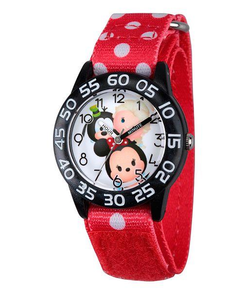ewatchfactory Disney Minnie Mouse, Elsa and Goofy Girls' Black Plastic Time Teacher Watch