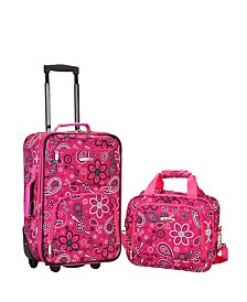 Rockland 2-Piece Pink Bandana Luggage Set