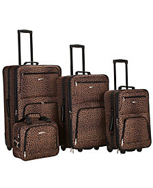 Rockland 4-Piece Leopard Luggage Set