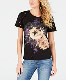 GUESS Ripped Princess Cat-Graphic T-Shirt