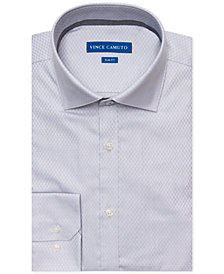 Vince Camuto Men's Slim-Fit Comfort Stretch Gray Mini Dobby Dress Shirt