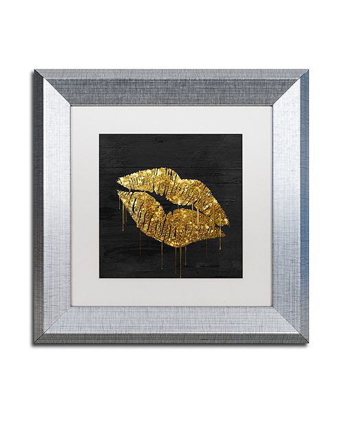 "Trademark Global Color Bakery 'Golden Lips' Matted Framed Art, 11"" x 11"""