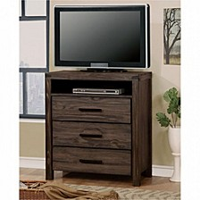 Contemporary Style Wooden Media Chest, Dark Gray
