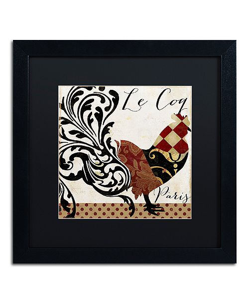 """Trademark Global Color Bakery 'Roosters Of Paris Ii' Matted Framed Art, 16"""" x 16"""""""