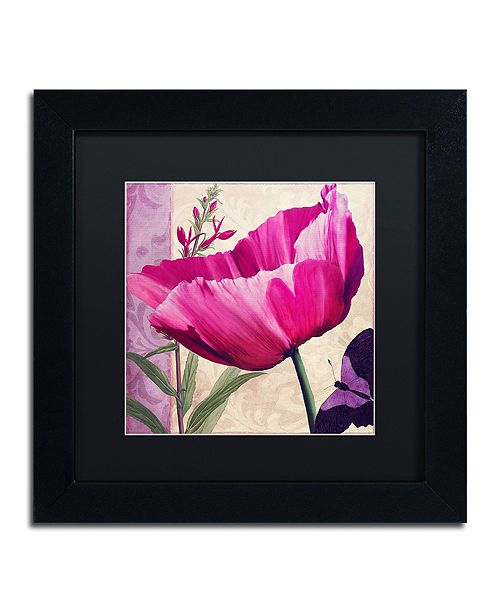 "Trademark Global Color Bakery ' Pink Poppy I ' Matted Framed Art, 11"" x 11"""