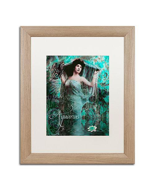 "Trademark Global Color Bakery 'Art Nouveau Zodiac Aquarius' Matted Framed Art, 16"" x 20"""