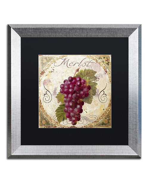 "Trademark Global Color Bakery 'Tuscany Table Merlot' Matted Framed Art, 16"" x 16"""