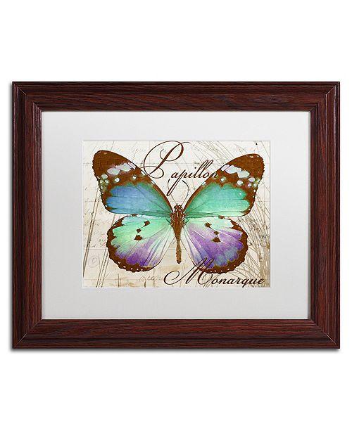 """Trademark Global Color Bakery 'Papillon I' Matted Framed Art, 11"""" x 14"""""""