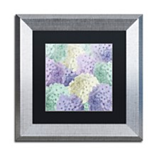 """Color Bakery 'Hortensia Groundless Cool Tones' Matted Framed Art, 11"""" x 11"""""""