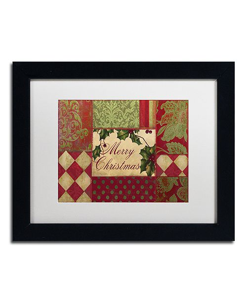"""Trademark Global Color Bakery 'Merry Christmas Patchwork I' Matted Framed Art, 11"""" x 14"""""""