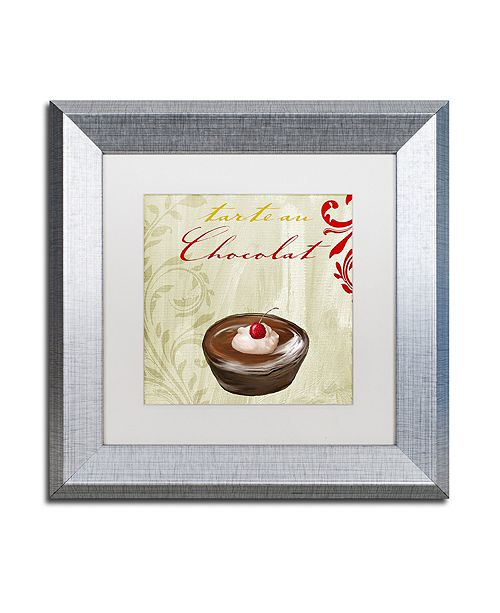 "Trademark Global Color Bakery 'Tartes Francais, Chocolat' Matted Framed Art, 11"" x 11"""