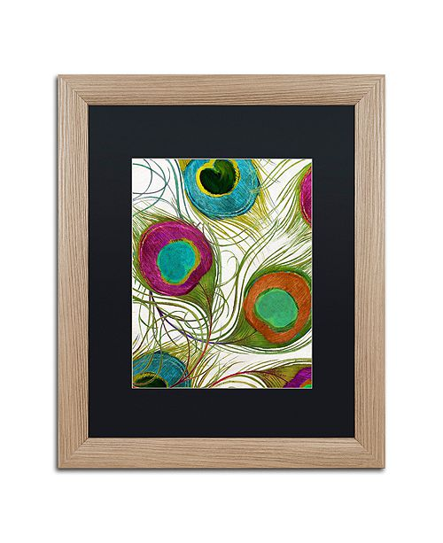 "Trademark Global Color Bakery 'Peacock Feathers Ii' Matted Framed Art, 16"" x 20"""