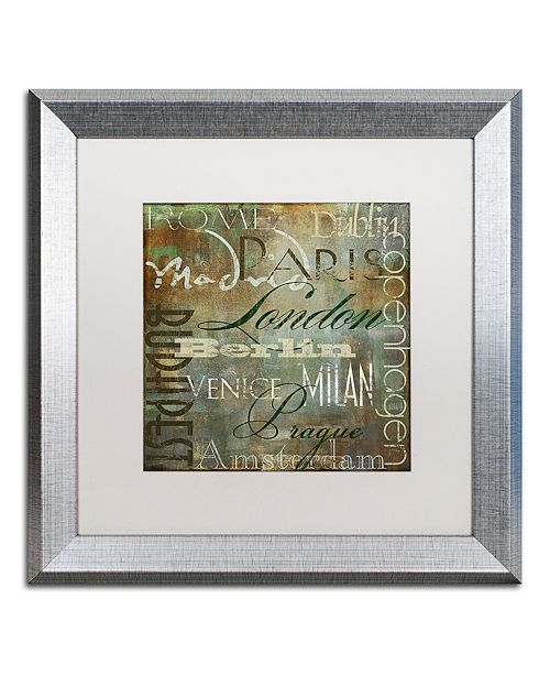 """Trademark Global Color Bakery 'Cities Of The World Iii' Matted Framed Art, 16"""" x 16"""""""