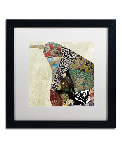 "Trademark Global Color Bakery 'Pear Brocade I' Matted Framed Art, 16"" x 16"""