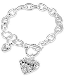 Silver-Tone Crystal Logo Heart Charm Link Bracelet