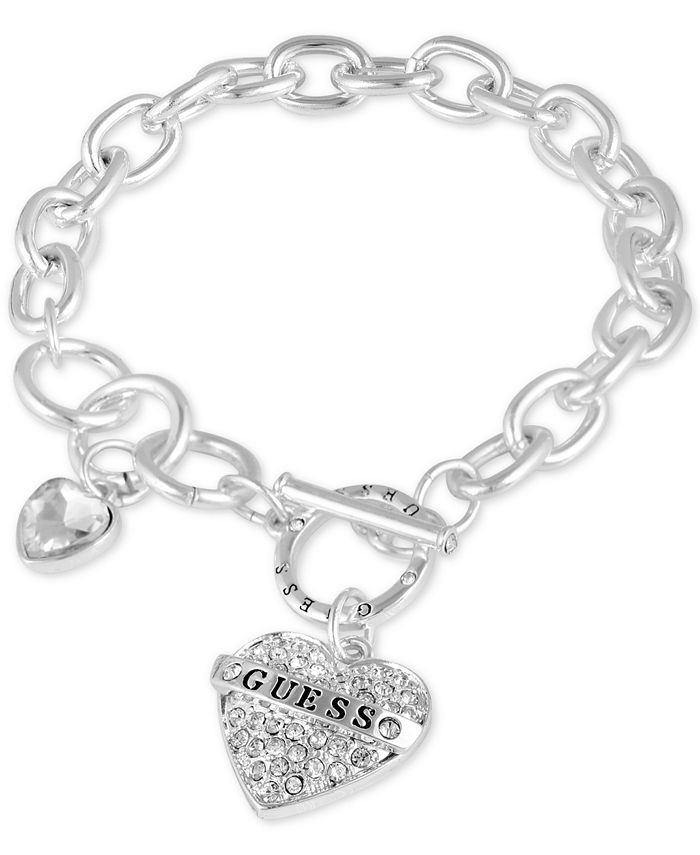 GUESS - Silver-Tone Crystal Logo Heart Charm Link Bracelet