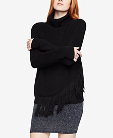BCBGeneration Asymmetrical Fringed Turtleneck Sweater