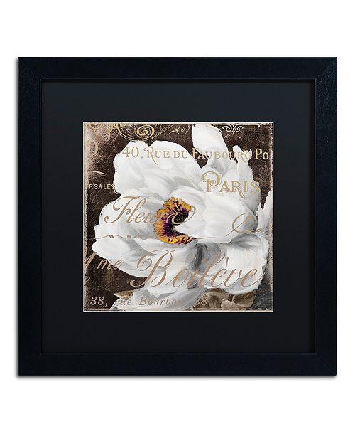"Trademark Global Color Bakery 'Fleurs Blanc Iii' Matted Framed Art, 16"" x 16"""