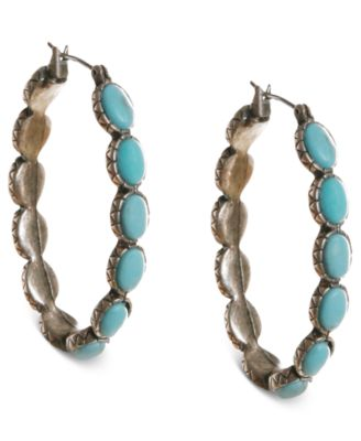Image of Lucky Brand Earrings, Reconstituted Turquoise Hoop Earrings