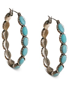 "Earrings, Reconstituted Turquoise 1-5/8"" Hoop Earrings"