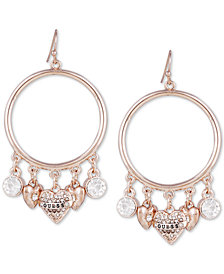 GUESS Crystal & Heart Charm Drop Hoop Earrings
