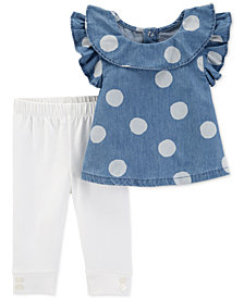 Carter's 2-Pc. Baby Girls Dot-Print Chambray Top & Pants Set