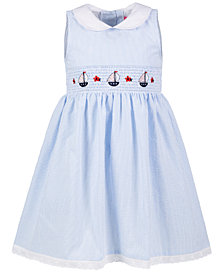 Good Lad Little Girls Smocked Seersucker Nautical Dress