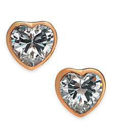 kate spade new york Gold-Tone Crystal Heart Stud Earrings