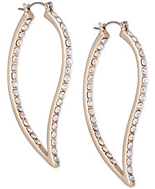 GUESS Gold-Tone Pavé Abstract Hoop Earrings