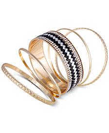 GUESS Gold-Tone 5-Pc. Set Crystal Bangle Bracelets