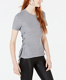 Material Girl Juniors' Shine Lace-Up Rib-Knit T-Shirt, Created for Macy's