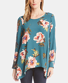 Karen Kane Floral-Print Handkerchief-Hem Top