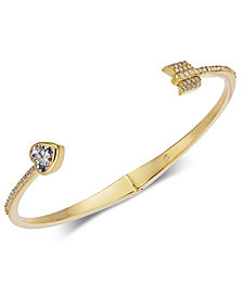 Kate Spade New York Gold Tone Crystal Heart Arrow Cuff Bracelet