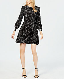 Vince Camuto Printed Puff-Sleeve Dress