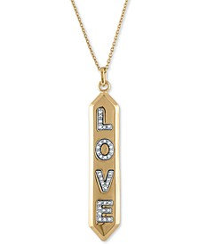 "Gold-Tone Pavé Love Pendant Necklace, 24"" + 2"" extender"