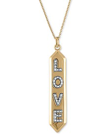 "RACHEL Rachel Roy Gold-Tone Pavé Love Pendant Necklace, 24"" + 2"" extender"
