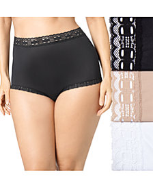 Olga Women's 3-Pk. Plus Size Secret Hug Lace Trim Brief 873J3