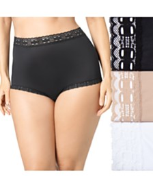 Olga Women's 3-Pk. Plus Size Secret Hug Lace Trim Brief Underwear 873J3