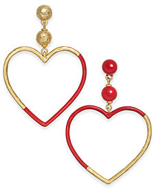 kate spade new york Gold-Tone Bead & Color-Coated Heart Mismatch Drop Earrings