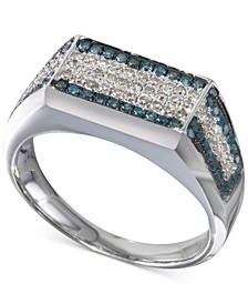 White & Blue Diamond Square Cluster Matrix Ring (3/4 ct. t.w.) in Sterling Silver