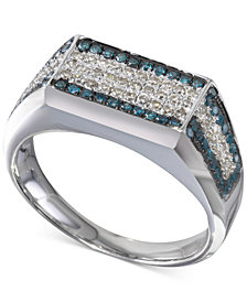 Diamond Square Cluster Matrix Ring (3/4 ct. t.w.) in Sterling Silver