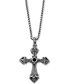 "Scott Kay Men's Onyx (5mm) Cross 26"" Pendant Necklace in Sterling Silver"