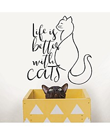 Better With Cats Wall Quote