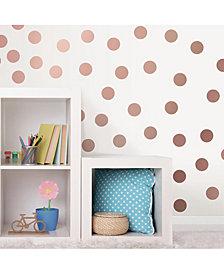 Metallic Rose Gold Dots Wall Art Kit Set Of 2
