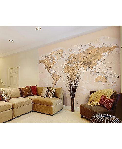 Brewster Home Fashions Sepia World Wall Mural