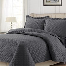 Cotton Flannel Solid Oversized Quilt Set