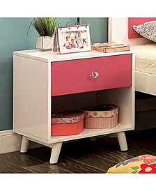 Transitional Style Night Stand, Pink and White
